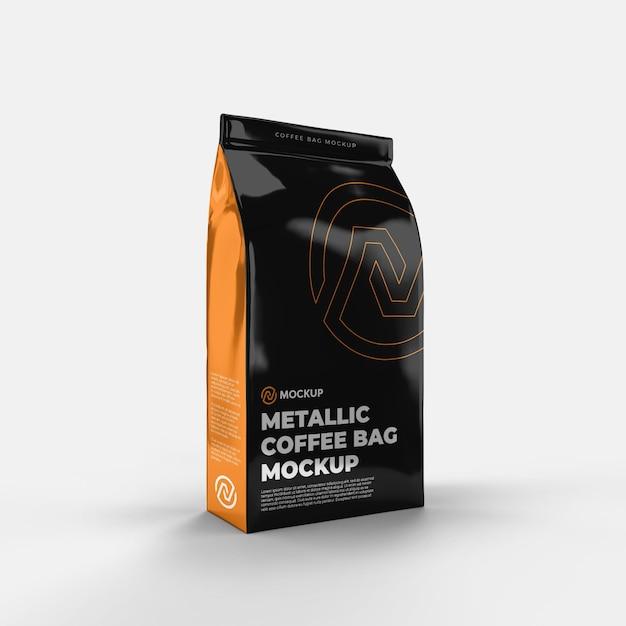 Металлический кофейный пакет, вид спереди Premium Psd