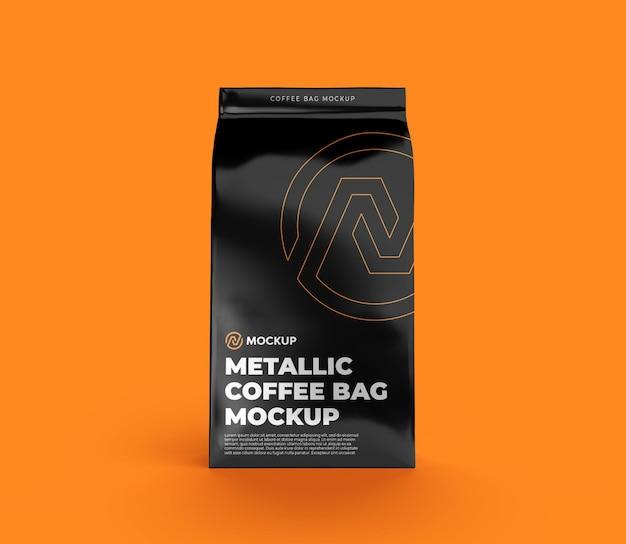 금속 커피 가방 목업 전면보기 프리미엄 PSD 파일
