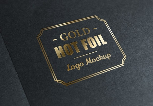 Metallic foil stamp with gold logo Free Psd