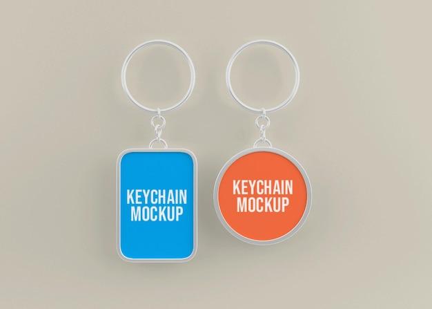 Metallic key chain mockup for key accessory Premium Psd