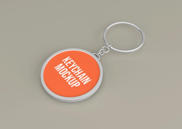 Metallic key chain mockup for key accessory Premium Psd