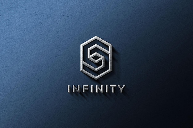 Metallic logo mockup on a blue wall Free Psd