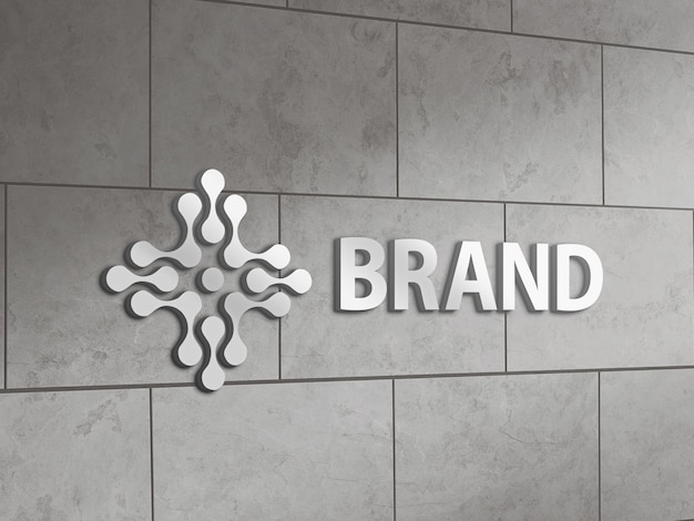 타일 벽에 금속 로고 모형 프리미엄 PSD 파일