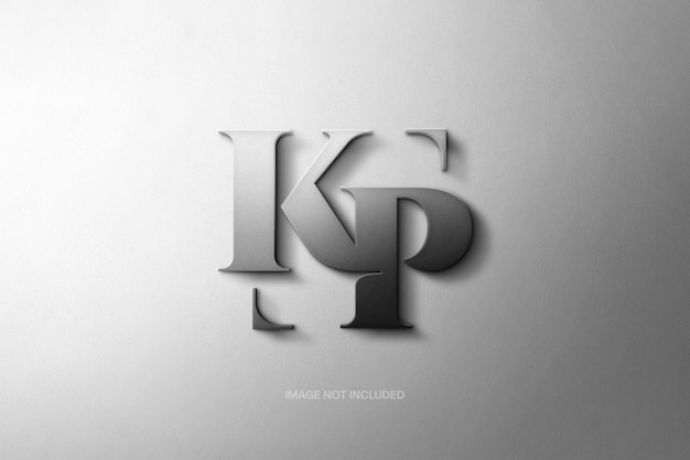 Макет логотипа с металлическими матовыми буквами Premium Psd