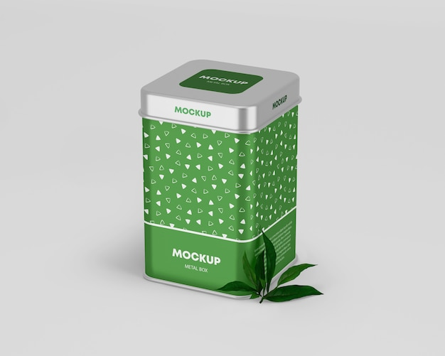 Metallic tin box mockup Premium Psd