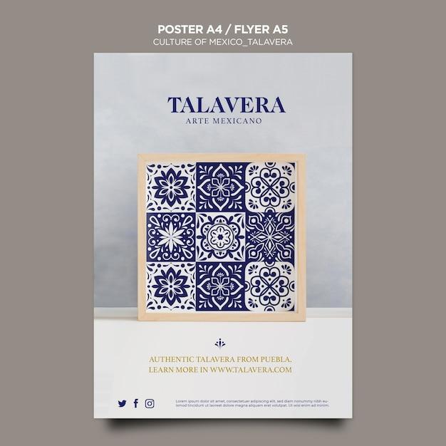 Mexican culture talavera flyer template Free Psd