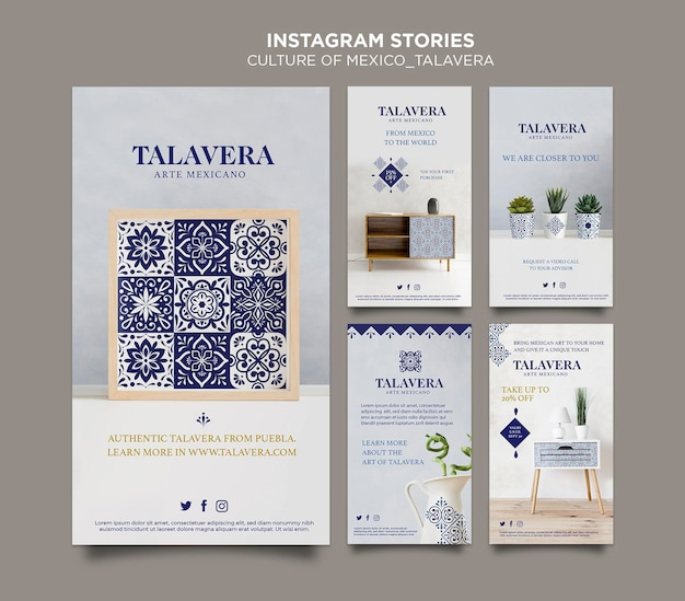 Mexican culture talavera instagram stories Free Psd