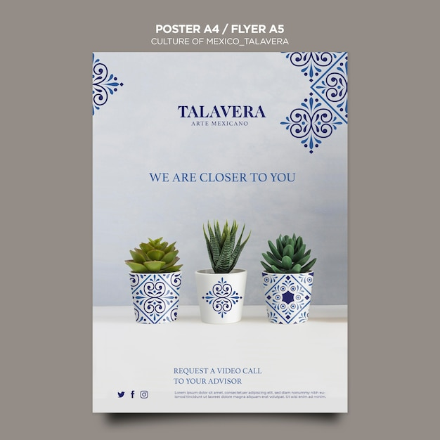 Mexican culture talavera poster template Free Psd