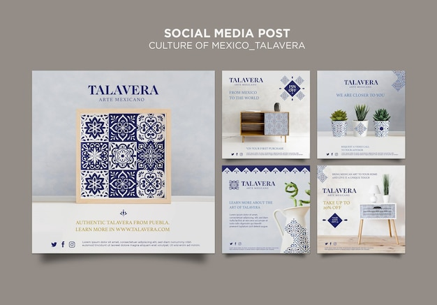Mexican culture talavera social media post Free Psd