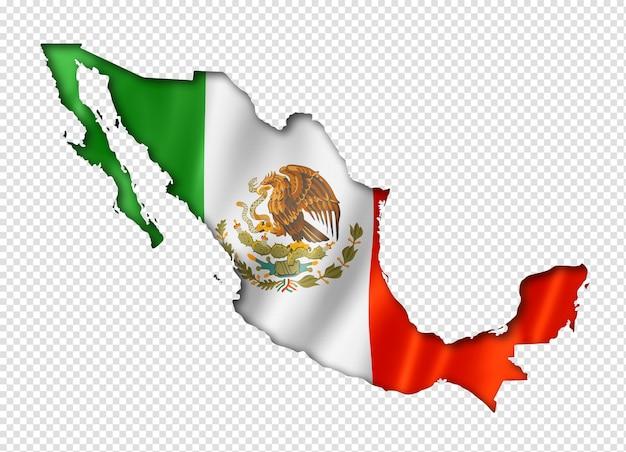 Mexican flag map Premium Psd