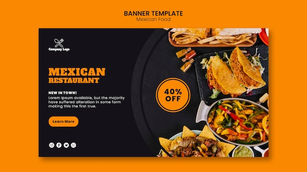 Mexican food banner template Free Psd