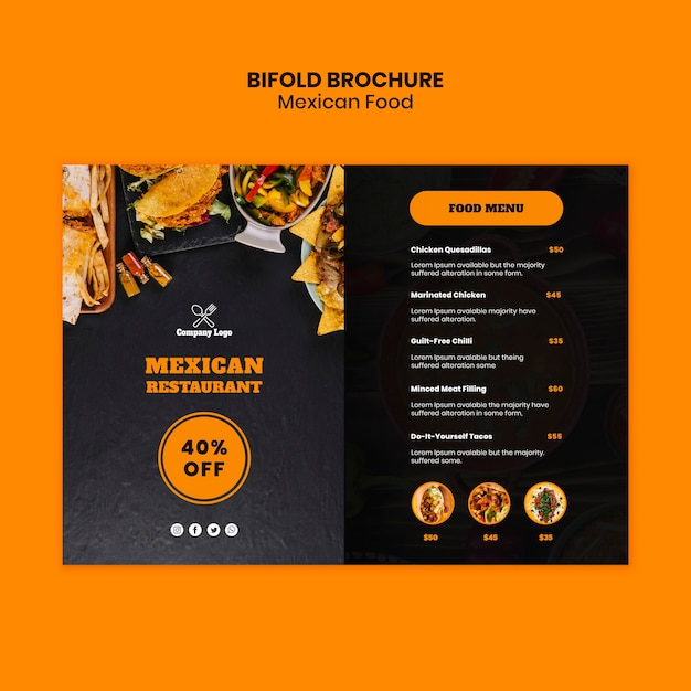 Mexican food bifold brochure template Free Psd