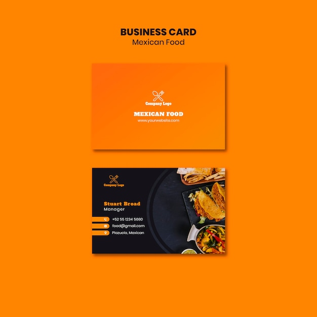 Mexican food business card template Free Psd
