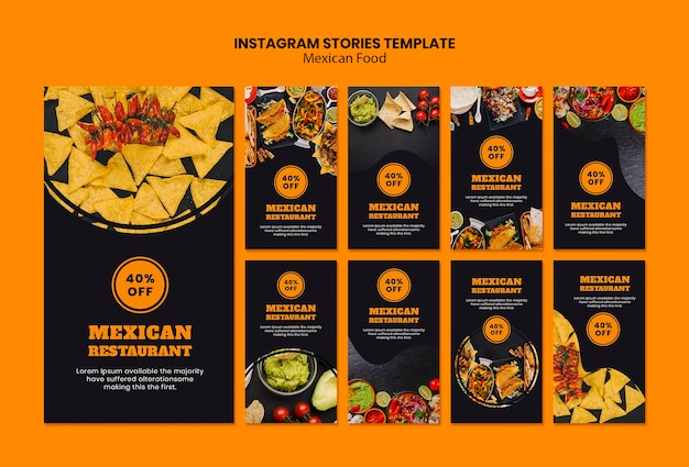 Mexican food instagram stories template Free Psd