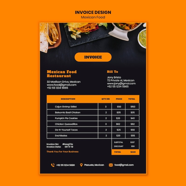 Mexican food invoice template Free Psd