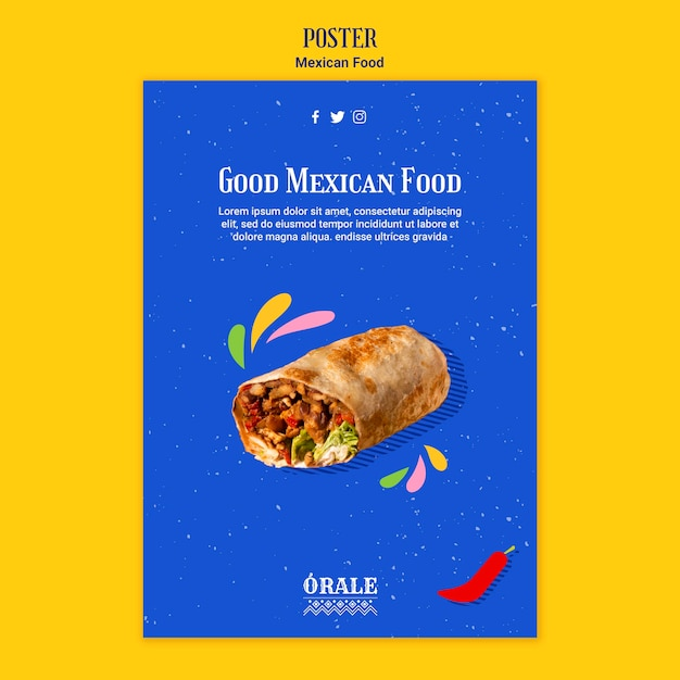 メキシコ料理ポスターテンプレート 無料 Psd