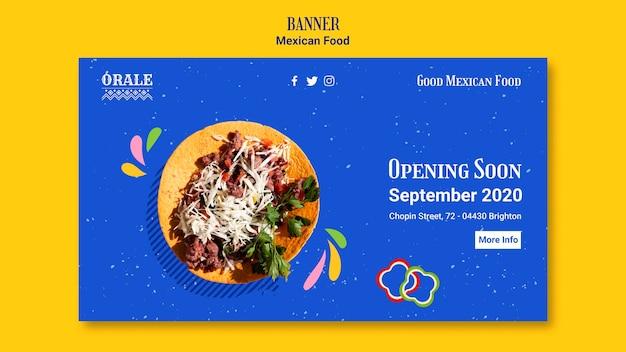 Шаблон баннера мексиканской кухни Бесплатные Psd