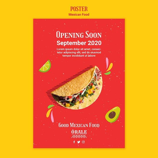 Шаблон постера ресторана мексиканской кухни Бесплатные Psd