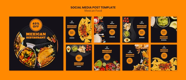 Mexican food social media post template Premium Psd