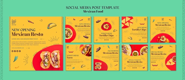 メキシコ料理のソーシャルメディアの投稿テンプレート 無料 Psd