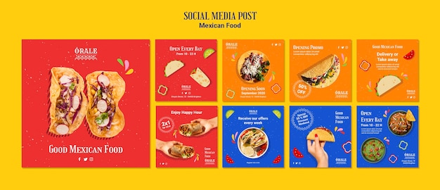 Mexican food social media post template Free Psd