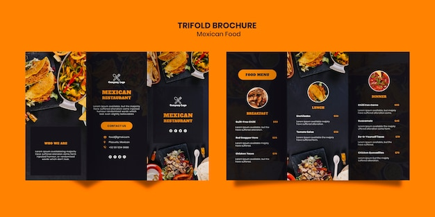 Mexican food trifold brochure template Free Psd
