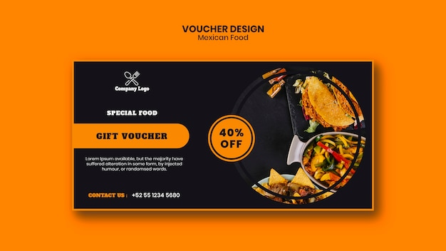 Mexican food voucher template Free Psd