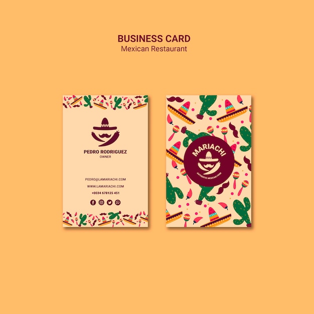 Mexican restaurant business card template Free Psd