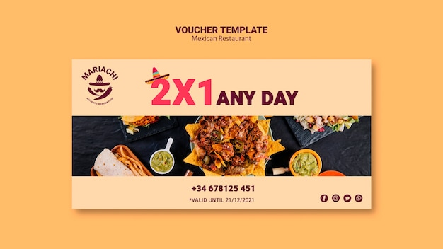 Mexican restaurant daily voucher template Free Psd