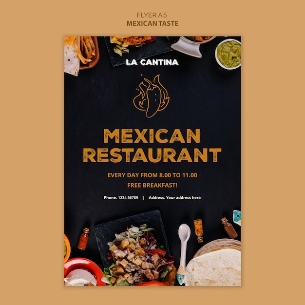Mexican restaurant flyer template Free Psd