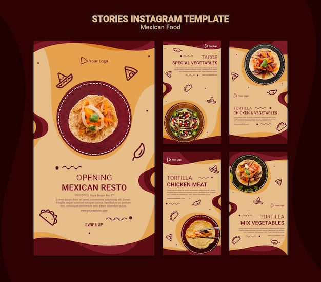 Mexican restaurant instagram stories template Free Psd