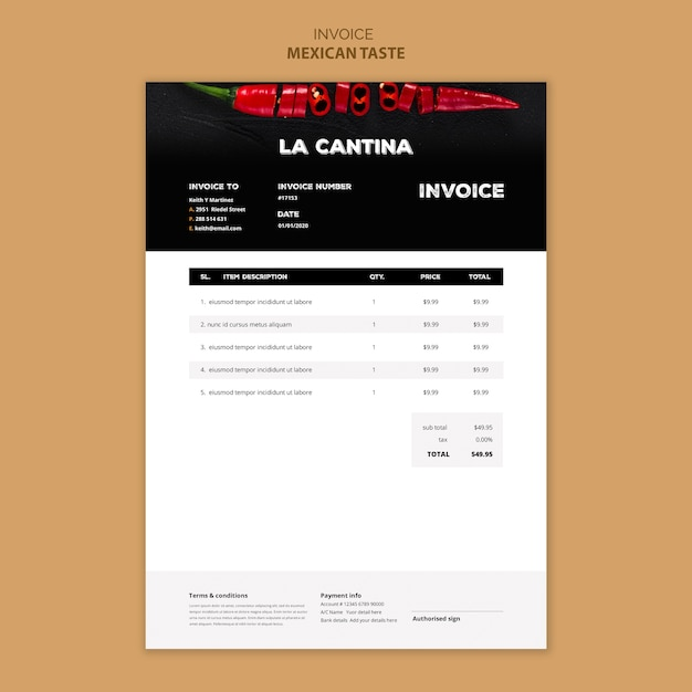 Mexican restaurant invoice template design Free Psd