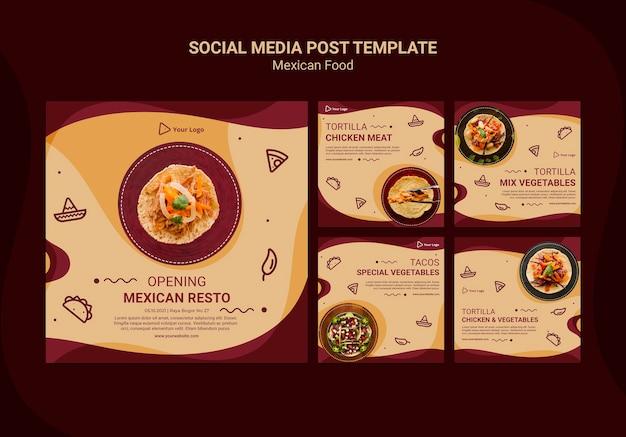 Mexican restaurant social media post template Free Psd