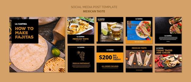 Mexican restaurant social media template concept Free Psd