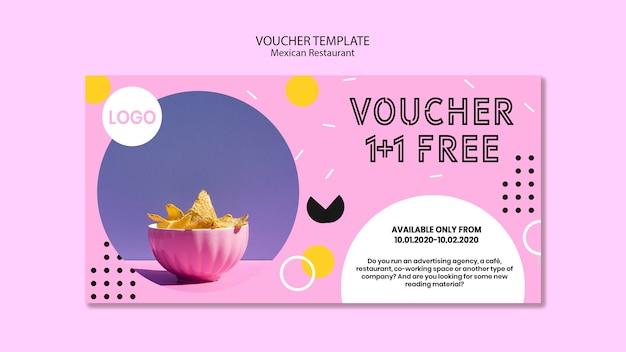 Mexican restaurant voucher template Free Psd