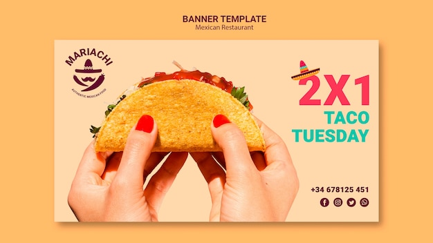 Mexican traditional dishes restaurant banner template Free Psd