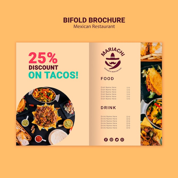 Mexican traditional dishes restaurant bifold brochure Free Psd