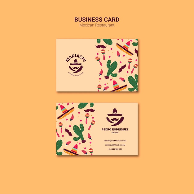 Mexican traditional dishes restaurant business card template Free Psd