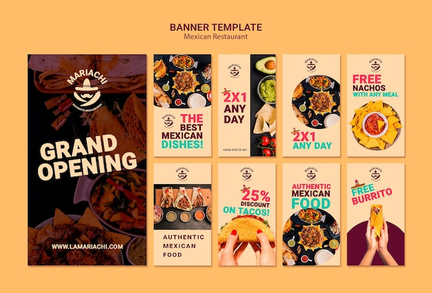 Mexican traditional dishes restaurant instagram stories Free Psd