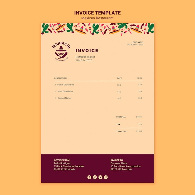 Mexican traditional dishes restaurant invoice template Free Psd