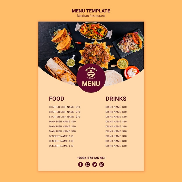 Mexican traditional dishes restaurant menu template Free Psd
