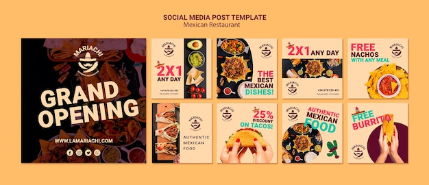 Mexican traditional dishes restaurant social media post Free Psd