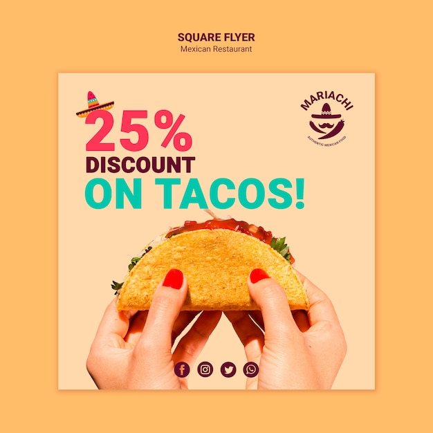 Mexican traditional dishes restaurant square flyer Free Psd