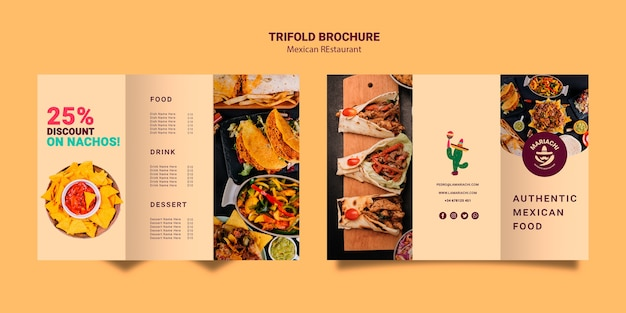 Mexican traditional dishes restaurant trifold brochure Free Psd