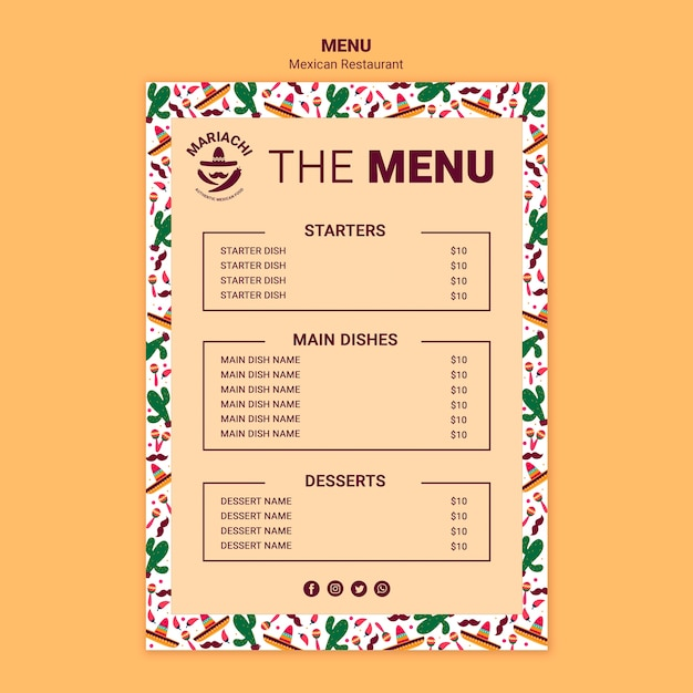 Mexican traditional restaurant menu template Free Psd