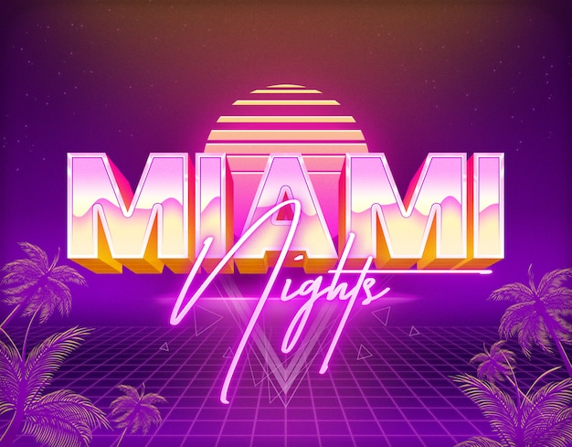 Miami nights text effects template psd layer style Premium Psd