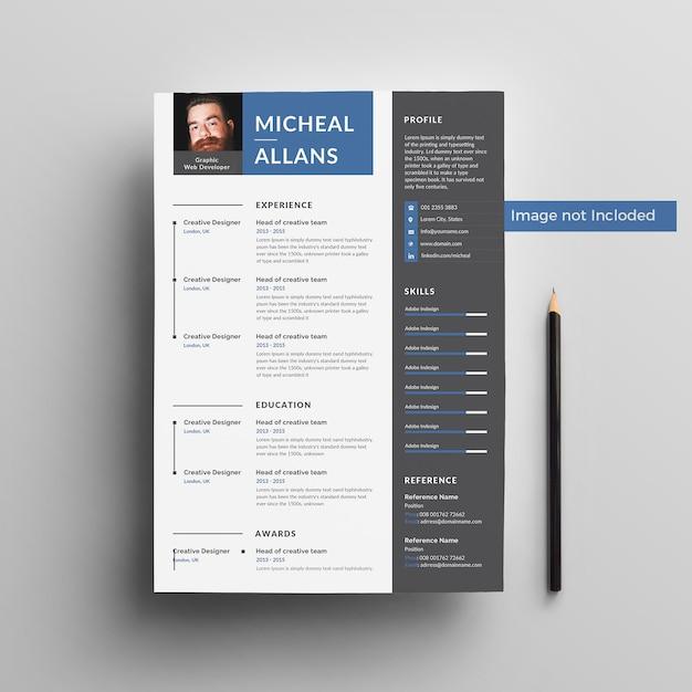 Micheal Resume Template 2019 Psd File Premium Download