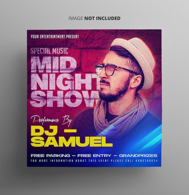 Mid night show music flyer Premium Psd