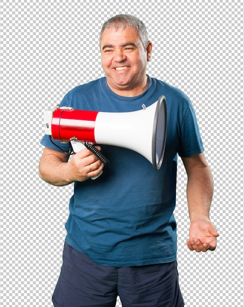 Middle aged man holding a megaphone Premium Psd
