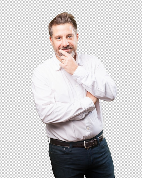 Middle aged man smiling Premium Psd
